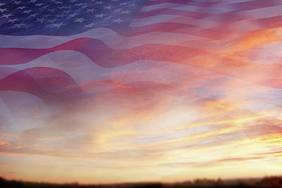 Digital Art - U.s. Flag In Sky by Les Cunliffe