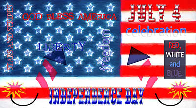 July 4 Mixed Media - U. S. Flag - July 4th Graphic by Steve Ohlsen