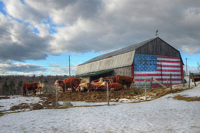 Photograph - Us Flag On Barn - Vermont Farm Scene by Joann Vitali