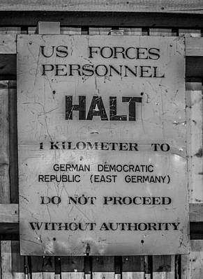 Photograph - Us Forces Personnel Halt Sign by Shirley Radabaugh