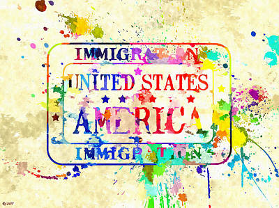 Mixed Media - Us Immigration Stamp by Daniel Janda