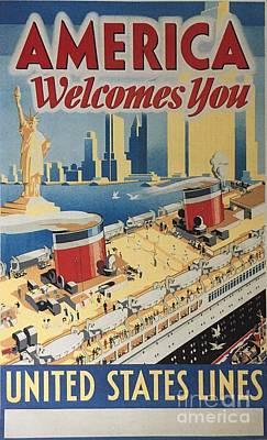 Liner Mixed Media - Us Lines Manhattan Upper Decks by Russell Parmerter