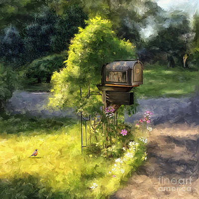 Mail Box Digital Art - Walking The Dog by Lois Bryan