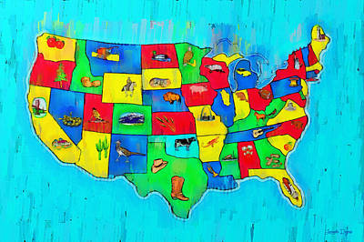 Democracy Painting - Us Map With Theme  - Free Style -  - Pa by Leonardo Digenio