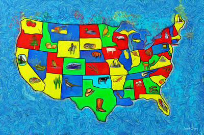 Us Map With Theme  - Van Gogh Style -  - Pa Print by Leonardo Digenio