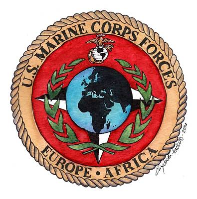 Painting - U.s. Marine Corps Forces Europe - Africa by Betsy Hackett