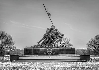 Photograph - Us Marine Corps War Memorial Black And White by Karen Jorstad