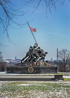 Photograph - Us Marine Corps War Memorial Overlooking Dc by Karen Jorstad