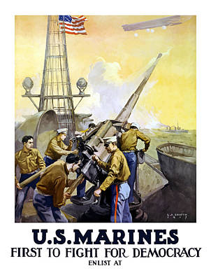 World War One Painting - Us Marines -- First To Fight For Democracy by War Is Hell Store