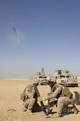 U.s. Marines Firing A 60-mm Mortar Art Print by Stocktrek Images