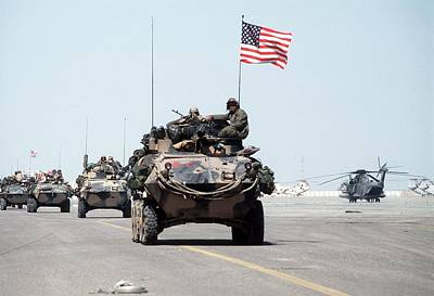 Bsloc Photograph - Us Marines Roll Into Kuwait by Everett