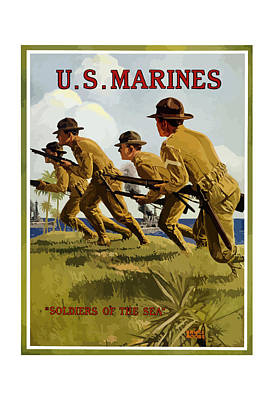 World War 1 Painting - Us Marines - Soldiers Of The Sea by War Is Hell Store