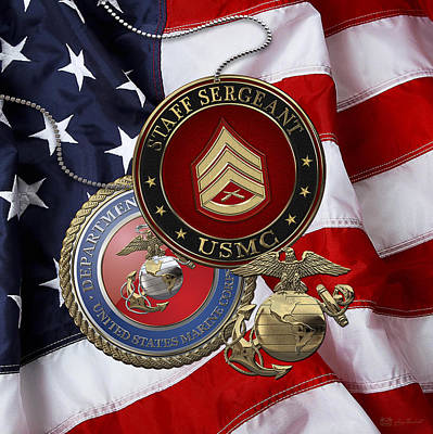 Digital Art - U. S. Marines Staff Sergeant Rank Insignia Over American Flag by Serge Averbukh