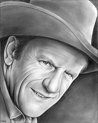 Drawing - Gunsmoke's Matt Dillon by Greg Joens