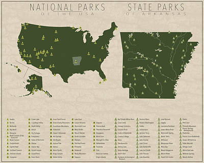 Arkansas State Map Digital Art - Us National Parks - Arkansas by Finlay McNevin