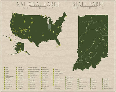 Us National Parks - Indiana Art Print by Finlay McNevin
