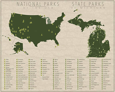 Michigan State Digital Art - Us National Parks - Michigan by Finlay McNevin