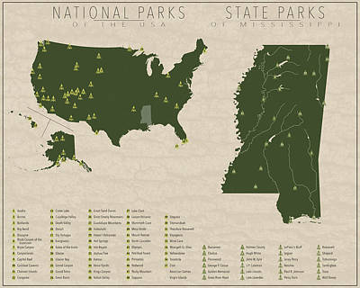 State Of Mississippi Digital Art - Us National Parks - Mississippi by Finlay McNevin