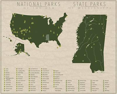 Mississippi Map Digital Art - Us National Parks - Mississippi by Finlay McNevin