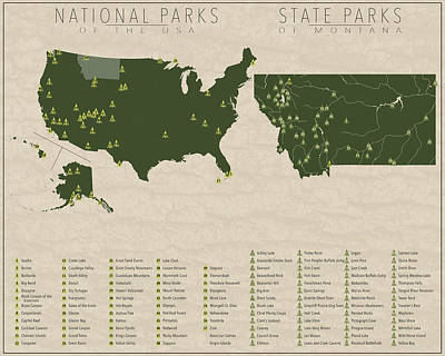 State Of Montana Digital Art - Us National Parks - Montana by Finlay McNevin