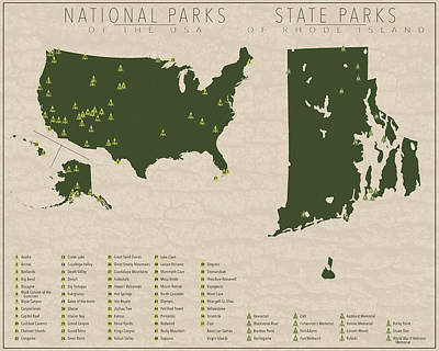 State Of Rhode Island Digital Art - Us National Parks - Rhode Island by Finlay McNevin