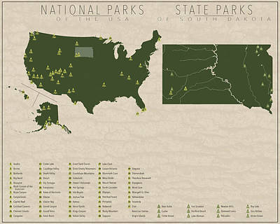 State Of South Dakota Digital Art - Us National Parks - South Dakota by Finlay McNevin