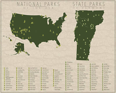 Vermont Map Digital Art - Us National Parks - Vermont by Finlay McNevin