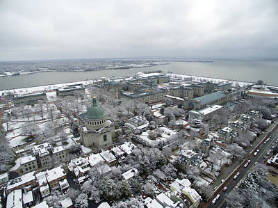 Photograph - Us Naval Academy - Snow Covered by Mid Atlantic Aerial