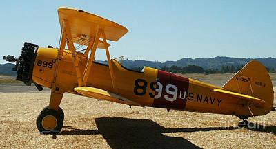 Bi-plane Painting - Us Navy Biplane by Diane E Berry