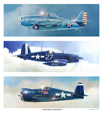 Painting - Us Navy Fighters Of World War 2 by Douglas Castleman
