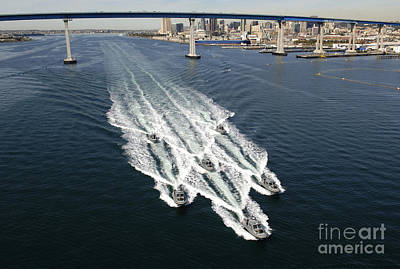 Coronado Bay Photograph - U.s. Navy Patrol Boats Conduct by Stocktrek Images
