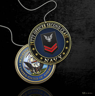 Digital Art - U.s. Navy Petty Officer Second Class - Po2 Rank Insignia Over Black Velvet by Serge Averbukh