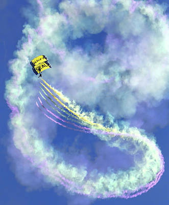 Photograph - Us Navy Seals Colorful Parachute Jump by Patricia Sanders