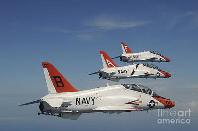 Flight Formation Photograph - U.s. Navy T-45 Goshawk Training by Stocktrek Images