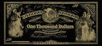 U. S. One Thousand Dollar Bill - 1863 $1000 Usd Treasury Note In Gold On Black Original