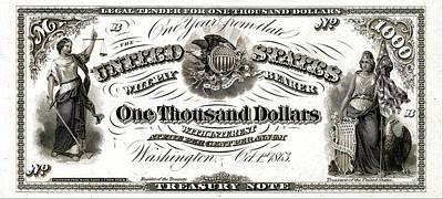 U.s. One Thousand Dollar Bill - 1863 $1000 Usd Treasury Note Original