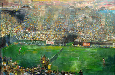 Australian Open Painting - Us Open Tennis Center, New York 72 X48 In.  by Hall Groat Sr
