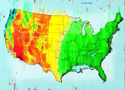 Silhouette Painting - Us Precipitation Map - Pa by Leonardo Digenio