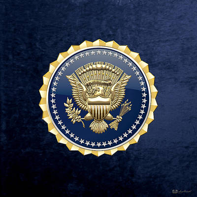 Digital Art -  Presidential Service Badge - P S B On Blue Velvet by Serge Averbukh