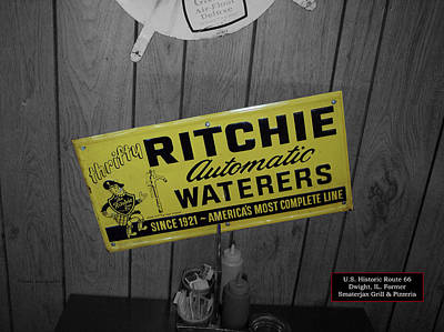 Us Route 66 Smaterjax Dwight Il Rare Waterers Signage Art Print by Thomas Woolworth