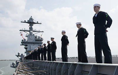 Photograph - Us Sailors Aboard Unit Gerald R Ford Cvn78 by Paul Fearn