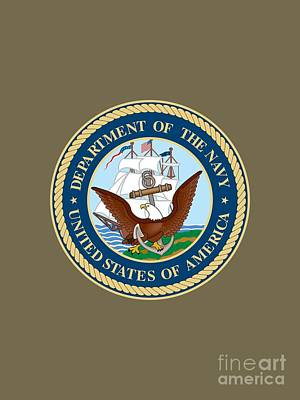 Seals Drawing - U.s. Seal Department Of The Navy by Pg Reproductions