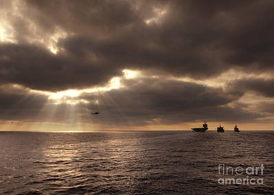 U.s. Ships Participate In An Replenishment At Sea Art Print