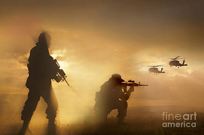 U.s. Special Forces Provide Security Art Print by Tom Weber
