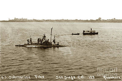 Photograph - U. S. Submarine Pike Off San Diego Calif. Lee Passmore Photo July 1910 by California Views Mr Pat Hathaway Archives