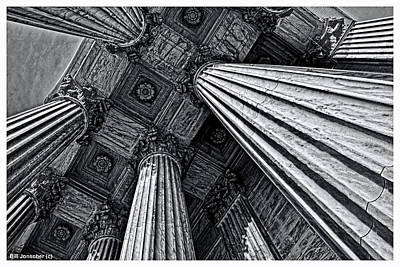 Photograph - Us Supreme Court Columns Black And White. by Bill Jonscher
