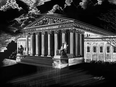 Us Capital Drawing - U.s. Supreme Court by Lindsey Jaeger