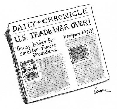 Drawing - Us Trade War Over by Mary Lawton