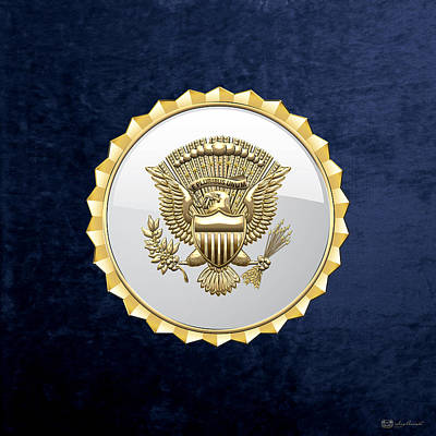 Digital Art - Vice Presidential Service Badge On Blue Velvet by Serge Averbukh