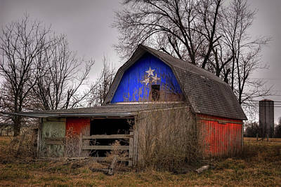 Photograph - Usa American Patriotic Barn With Barren Trees by Gregory Ballos